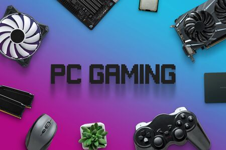 Assembling gaming computer concept with text in the middle. PC gaming composition with computer components on purple, blue background.
