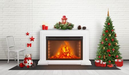Fireplace surrounded by Christmas and New Year decorations. Beside is decorated Christmas tree with gifts below.