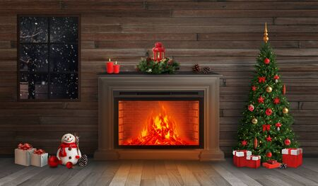 Christmas night. Decorated fireplace and Christmas tree. Below are the gifts. Stock Photo