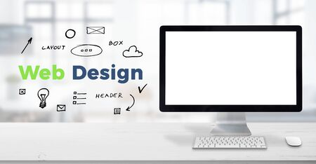 Computer display mockup on work desk. Web design text surrounded with drawn elements. Planning concept, web design studio presentation. Stock Photo - 134366962