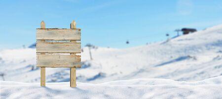 Blank road sign in ski resort. Ski lift and slopes in background
