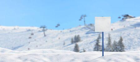 Blank ski signost on ski resort mockup. Ski lifts and slopes in background