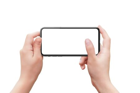 Phohe mockup in woman hands. Horizontal position. Concept of camera or app use with finger on screen. Isolated background