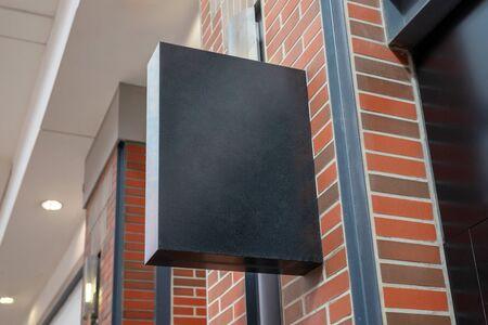 Shopping mall store signage mockup. Rectangular vertical shape, black color Stok Fotoğraf