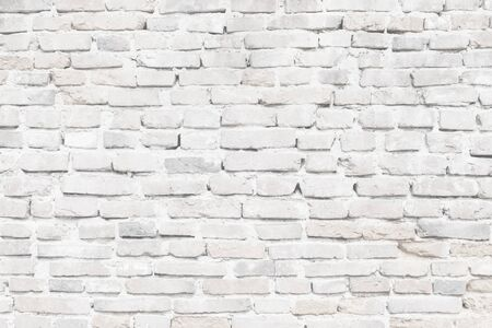 Limewashed old brick wall in white texture close-up Stok Fotoğraf
