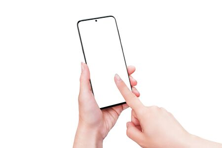 Phone mockup in woman hands isolated. Right hand touch display concept. Modern smart phone with thin edges and camera built into the display