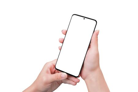 Isolated phone mockup in woman hands. Smart object screen for app design presentation. Modern smart phone with thin edges