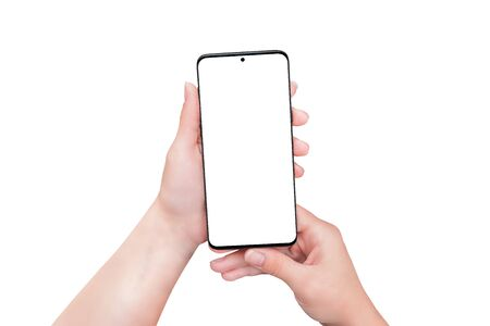 Isolated phone in woman hands. Smart object display for mockup, app or web page design presentation. Separated background