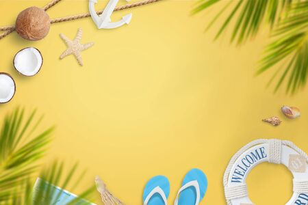 Summer vacation composition with coconuts, palm leaves, shells, starfish, lifebelt, anchor. Copy space in the middle for promo text