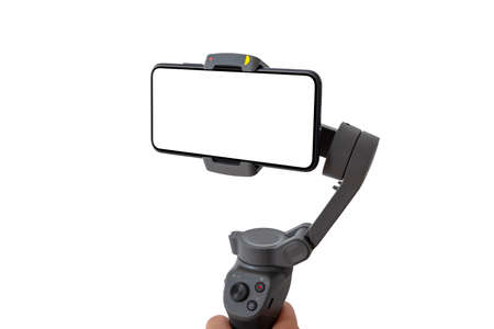Phone on gimbal close-up. Isolated display and background. Side view