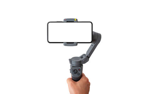 Smart phone on gimbal stabilizer isolated. Front view