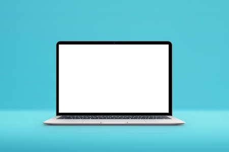 White laptop mockup on pastel pink desk. Isometric position. Plant beside 版權商用圖片