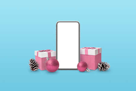 Phone mockup surrounded by Christmas gifts, balls and cones. Blue and pink pastel colors