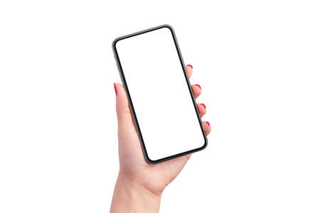 Phone mockup in woman hand isolated. Hand shows the phone in a vertical position. Close-up