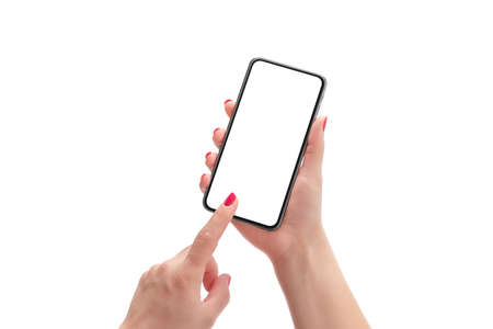 Phone mockup in woman hands. Background and phone display isolated in white. Modern smart pgone with round edges 版權商用圖片