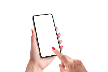 Phone mockup in woman hands. Isolated screen and background. Right hand touch phone display concept. Close-up
