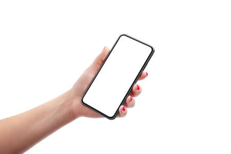 Phone mockup in woman hand. Isolated background and display. Retouched soft skin