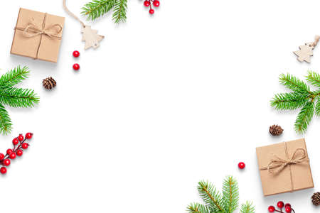 Christmas decorations on white surface with copy space in the middle. Top view, flat lay composition 版權商用圖片