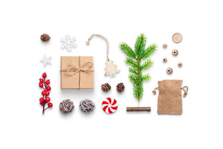 Christmas gift and decorations isolated with shadows. Concept of preparing gifts and decorations for the Christmas and New Year