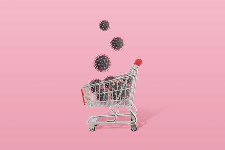 Coronavirus virions drop in shopping cart. Concept of season shopping and dangerous virus epidemic 版權商用圖片