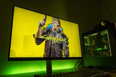Sarajevo, Bosnia and Herzegovina - December 9, 2020: Cyberpunk 2077 open-world, action-adventure cover on computer display.