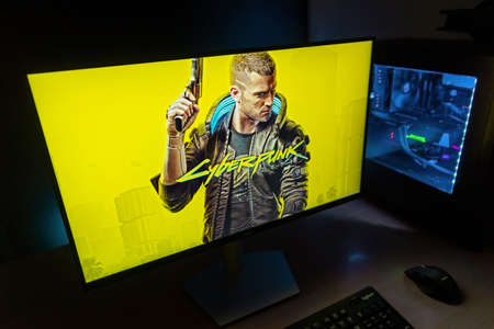 Sarajevo, Bosnia and Herzegovina - December 9, 2020: Cyberpunk 2077 action role-playing video game cover on computer display developed and published by CD Projekt.