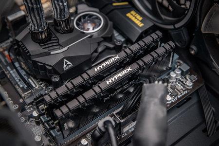 Sarajevo, Bosnia and Herzegovina - December 29, 2020: Kingston HyperX Predator DDR4 memory with black aluminum heat mounted in motherboard