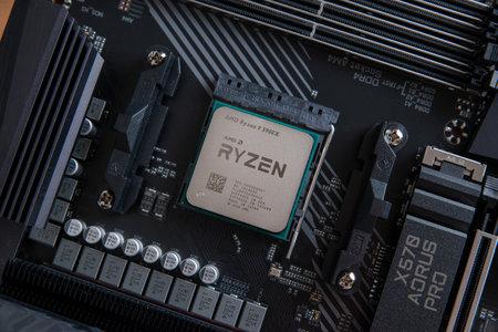 Sarajevo, Bosnia and Herzegovina - December 29, 2020: The desktop Ryzen 5000 series processor, based on the Zen 3 microarchitecture in AM4 motherboard socket