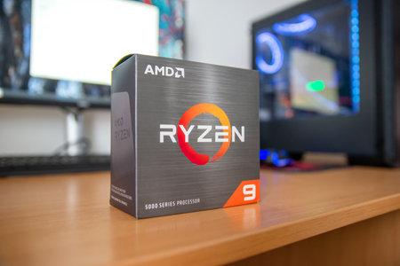 Sarajevo, Bosnia and Herzegovina - December 29, 2020: New Zen 3 AMD Ryzen 9 5900x processor box on table