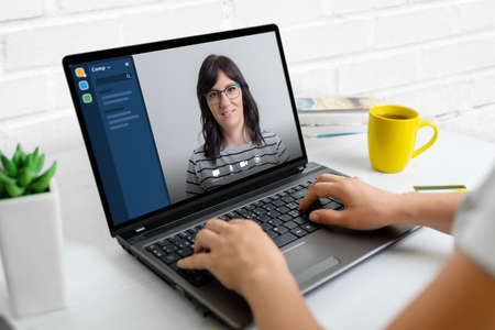 Online meeting with laptop. Work at home concept.