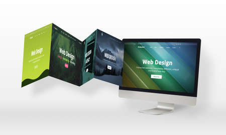 Web design concept with web pages come out of the computer display. Creative flat design web pages