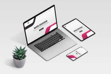 Web design studio promo page on laptop, tablet and phone display concept. Isometric view of desk with plant decoration 版權商用圖片 - 162193479