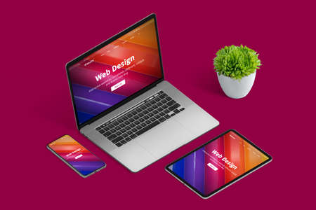 Web design studio promotion with responsive promo page on different devices in isometric position 版權商用圖片 - 162193483