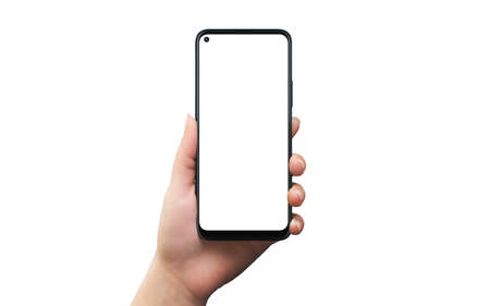 Phone mockup in woman hand. Isolated background and display for mockup, app design presentation