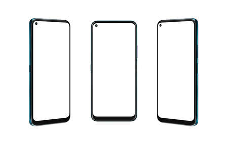 Smart phone isolated in three positions. Front, left and right side. Isolated round for mockup, app design promotion