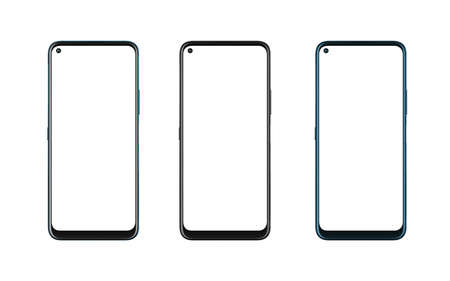 Phone mockup in three colors. Isolated display and background in white. Modern phone with round edges and camera built into the display 版權商用圖片