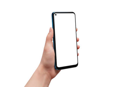 Isolated hand and phone. Man hand showing mobile phone. Isolated display for app design presentation
