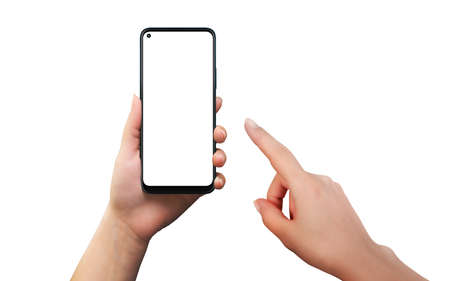 Isolated phone and woman holding and touch hand. Modern smart phone with round edges. Isolated screen for app presentation