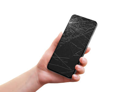 Isolated broken phone in woman hand