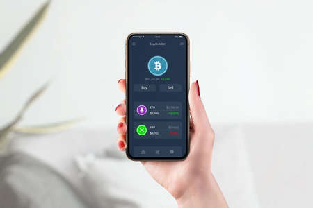 Cryptocurrency wallet on smart phone concept. Modern, flat design app with bitcoin value on market