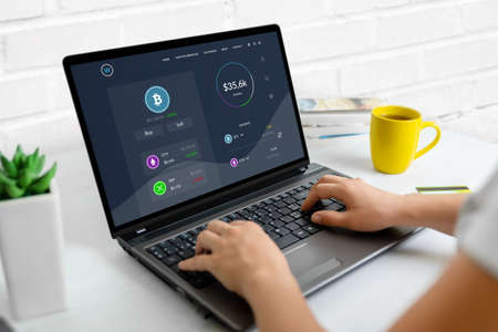 Monitoring the growth of the value of cryptocurrencies online concept. Modern web page on laptop computer with market values Фото со стока