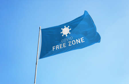 free zone flag with  virion. Concept of zone safe for travel Фото со стока