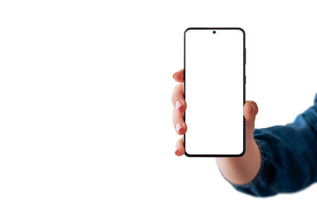 Woman hand showing modern smartphone. Isolated display and background. Copy space beside