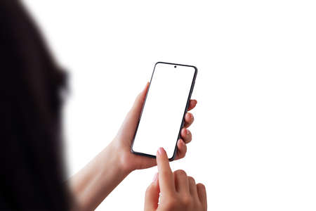 Isolated woman head, hands and smart phone. Isolated screen for app or web site presentation. Over shoulder view Фото со стока