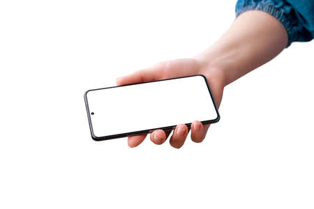 Woman's hand shows the phone. Isolated screen and background. Horizontal position.
