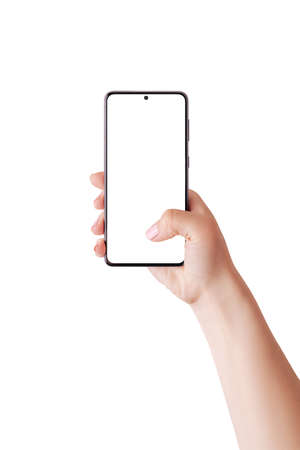Woman hand holding phone and touch display with thumb. Isolated screen and background for mockup