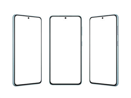 Isolated modern smart phone in three position. Thin edges with small built into display camera