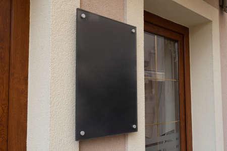 Empty black board, signage mockup on shop entrance for logo branding promotion