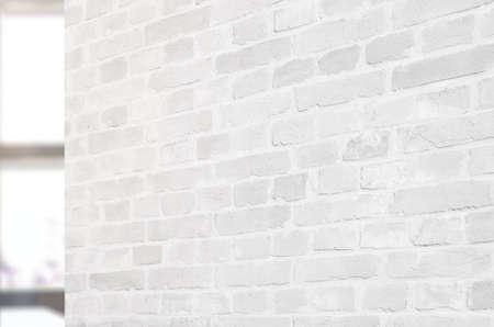 Empty white brick wall in office interior for logo branding presentation