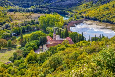 Krka monastery. 14th century Serbian Orthodox Church monastery dedicated to the St. Archangel Michael. Endowment of princess Jelena Nemanjic Subic. Located in Krka National Park, Croatia. Image